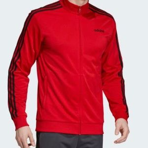 Adidas essentials 3 stripe track jacket red Sz M